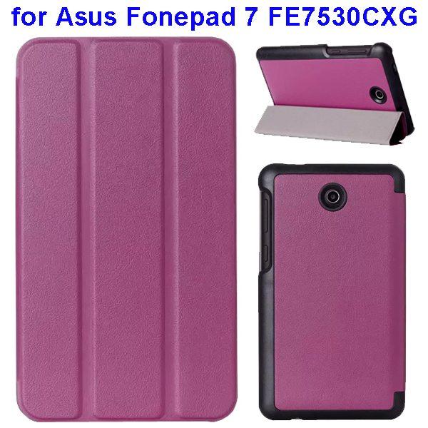 Karst Texture 3 Folding Pattern Flip Leather Case for Asus Fonepad 7 FE7530CXG (Purple)