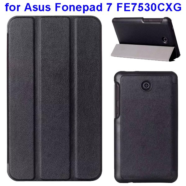 Karst Texture 3 Folding Pattern Flip Leather Case for Asus Fonepad 7 FE7530CXG (Black)