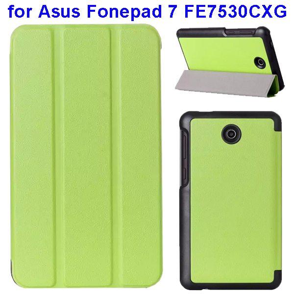 Karst Texture 3 Folding Pattern Flip Leather Case for Asus Fonepad 7 FE7530CXG (Green)