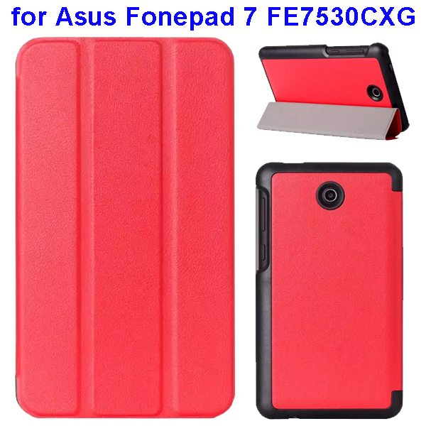 Karst Texture 3 Folding Pattern Flip Leather Case for Asus Fonepad 7 FE7530CXG (Red)