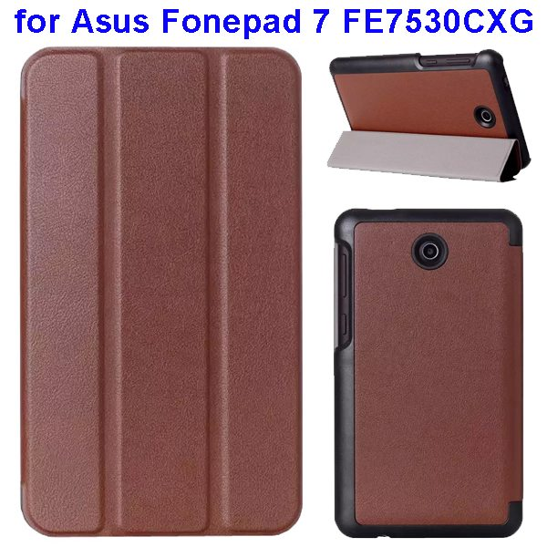 Karst Texture 3 Folding Pattern Flip Leather Case for Asus Fonepad 7 FE7530CXG (Brown)