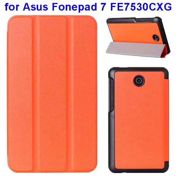 Karst Texture 3 Folding Pattern Flip Leather Case for Asus Fonepad 7 FE7530CXG (Orange)