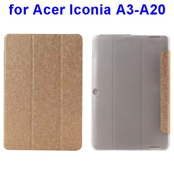 Silk Texture 3-Folding Pattern Flip Leather Cover for Acer Iconia A3-A20 (Gold)
