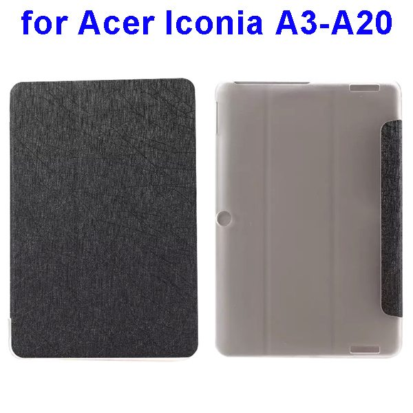 Silk Texture 3-Folding Pattern Flip Leather Cover for Acer Iconia A3-A20 (Black)