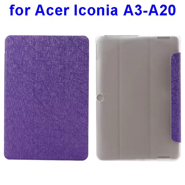 Silk Texture 3-Folding Pattern Flip Leather Cover for Acer Iconia A3-A20 (Purple)