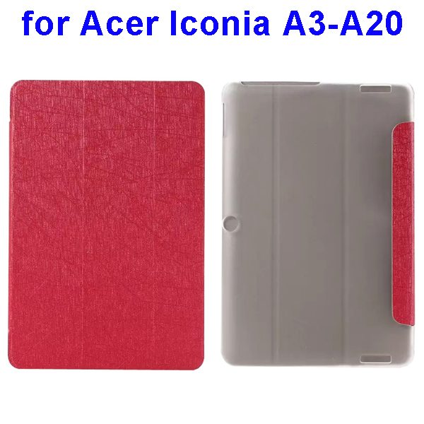 Silk Texture 3-Folding Pattern Flip Leather Cover for Acer Iconia A3-A20 (Red)