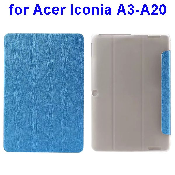 Silk Texture 3-Folding Pattern Flip Leather Cover for Acer Iconia A3-A20 (Light Blue)