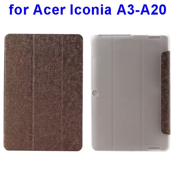 Silk Texture 3-Folding Pattern Flip Leather Cover for Acer Iconia A3-A20 (Brown)