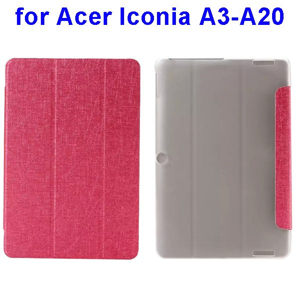 Silk Texture 3-Folding Pattern Flip Leather Cover for Acer Iconia A3-A20 (Rose)