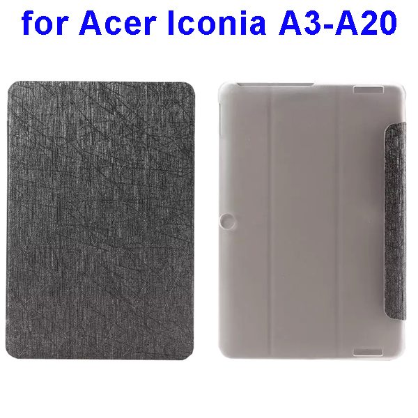 Silk Texture 3-Folding Pattern Flip Leather Cover for Acer Iconia A3-A20 (Grey)