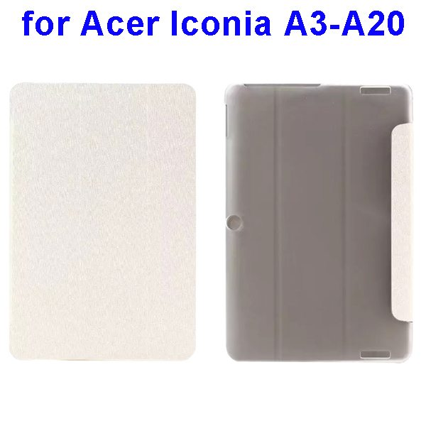 Silk Texture 3-Folding Pattern Flip Leather Cover for Acer Iconia A3-A20 (White)