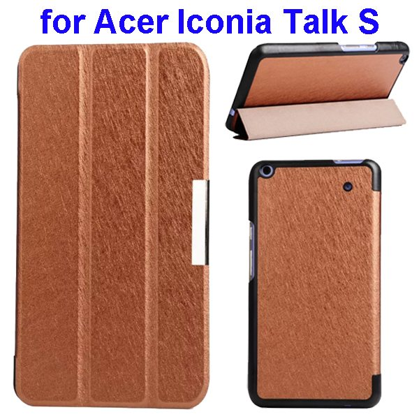 Silk Grain 3-Folding Stand Leather Case Cover For Acer Iconia Talk S A1-724 (Brown)