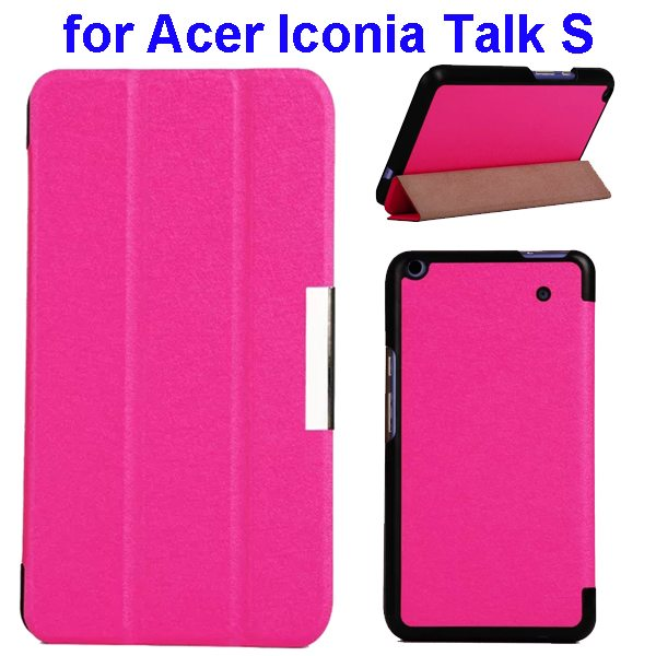 Silk Grain 3-Folding Stand Leather Case Cover For Acer Iconia Talk S A1-724 (Rose)