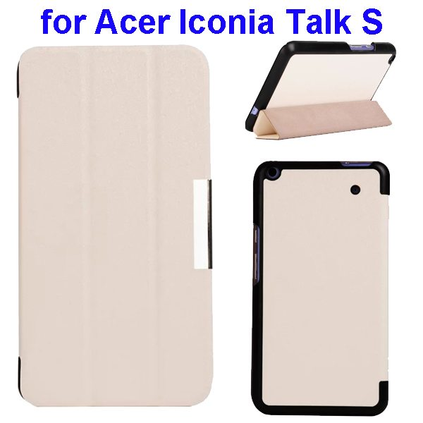 Silk Grain 3-Folding Stand Leather Case Cover For Acer Iconia Talk S A1-724 (White)