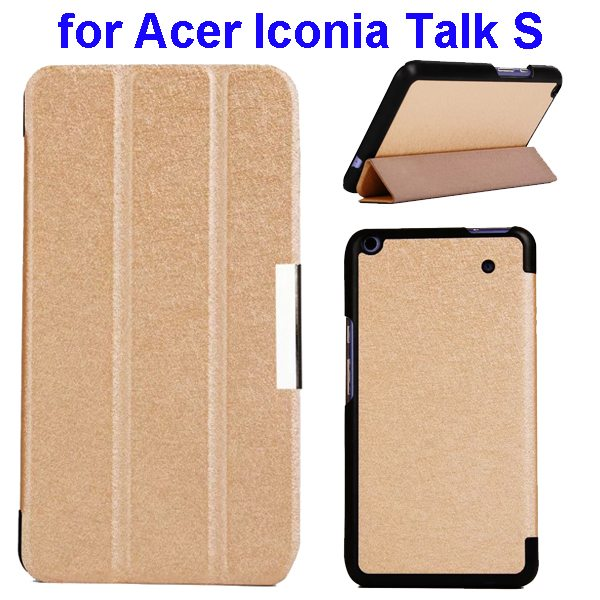 Silk Grain 3-Folding Stand Leather Case Cover For Acer Iconia Talk S A1-724 (Golden)