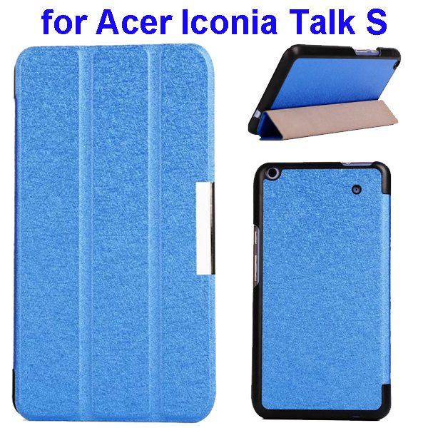 Silk Grain 3-Folding Stand Leather Case Cover For Acer Iconia Talk S A1-724 (Blue)