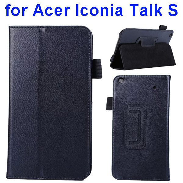 Factory Price Litchi Texture Stand Leather Case Cover For Acer Iconia Talk S A1-724 (Black)