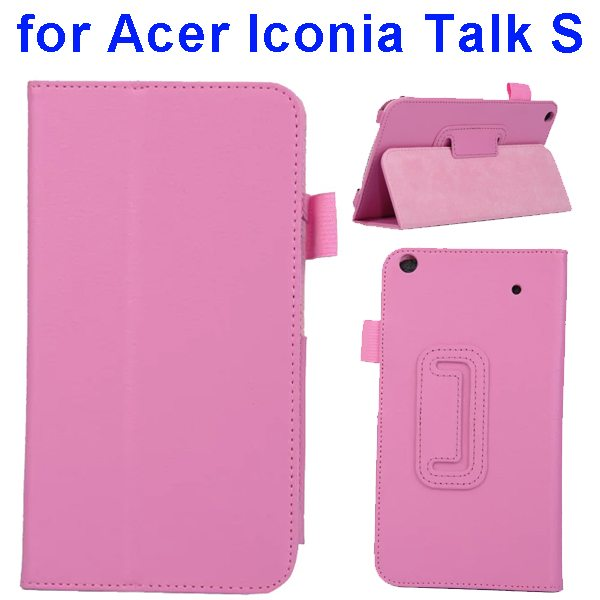 Factory Price Litchi Texture Stand Leather Case Cover For Acer Iconia Talk S A1-724 (Pink)