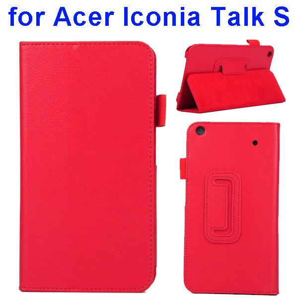 Factory Price Litchi Texture Stand Leather Case Cover For Acer Iconia Talk S A1-724 (Red)