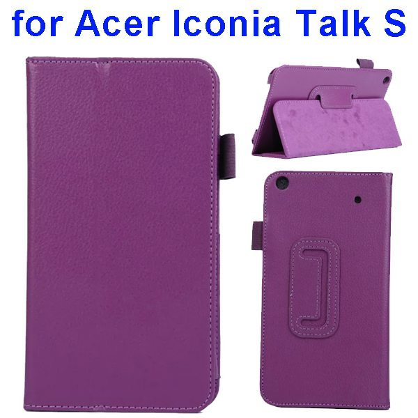 Factory Price Litchi Texture Stand Leather Case Cover For Acer Iconia Talk S A1-724 (Purple)