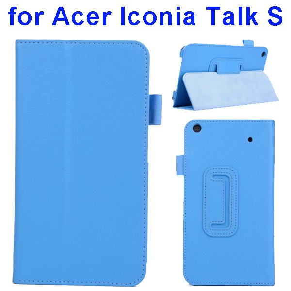 Factory Price Litchi Texture Stand Leather Case Cover For Acer Iconia Talk S A1-724 (baby Blue)