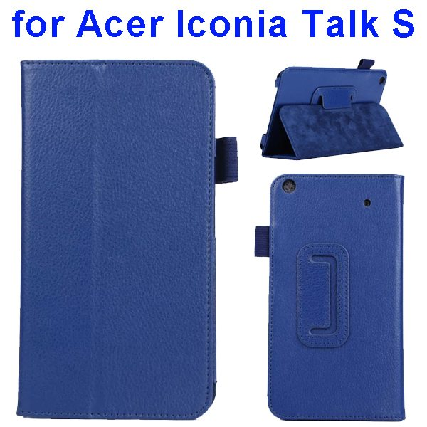 Factory Price Litchi Texture Stand Leather Case Cover For Acer Iconia Talk S A1-724 (Dark Blue