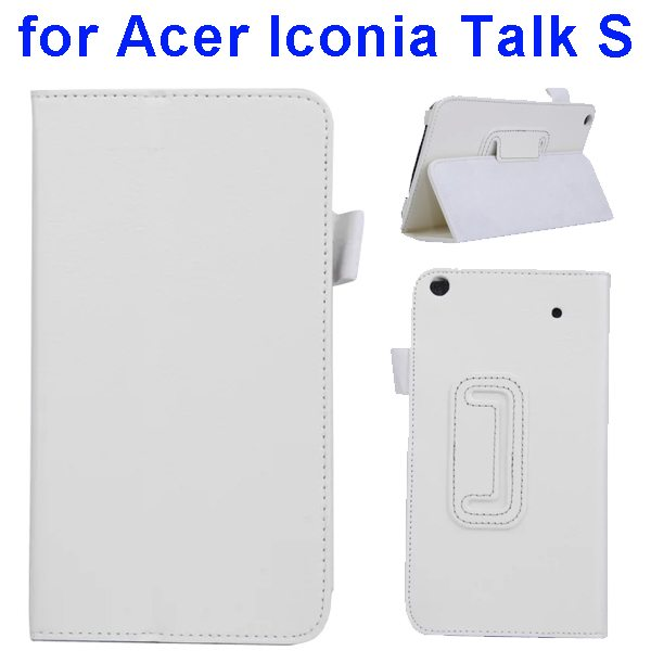 Factory Price Litchi Texture Stand Leather Case Cover For Acer Iconia Talk S A1-724 (White)