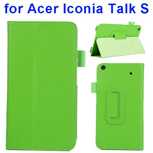 Factory Price Litchi Texture Stand Leather Case Cover For Acer Iconia Talk S A1-724 (Green)
