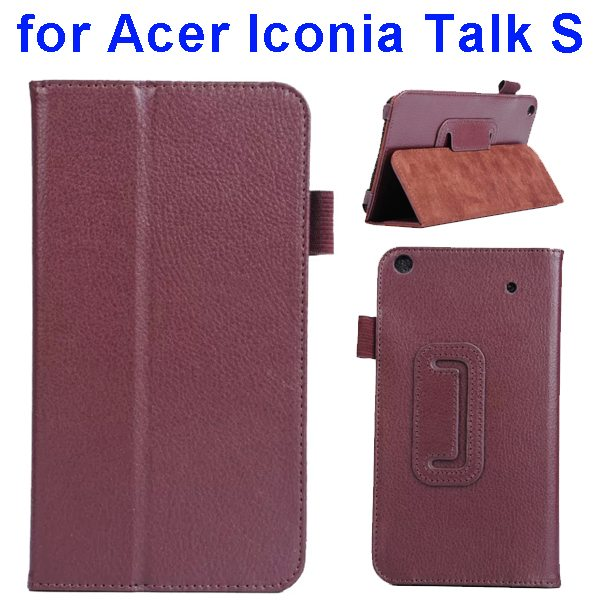 Factory Price Litchi Texture Stand Leather Case Cover For Acer Iconia Talk S A1-724 (Brown)