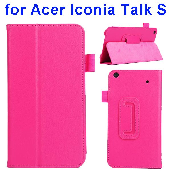 Factory Price Litchi Texture Stand Leather Case Cover For Acer Iconia Talk S A1-724 (Rose)