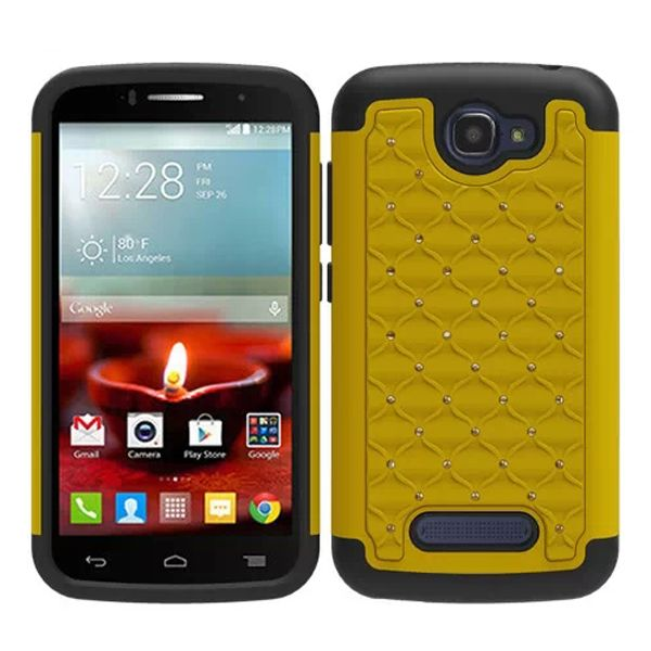 Bling Bling Style Hybrid PC and Silicone Rugged Case for Alcatel One Touch Fierce 2 (Lime)