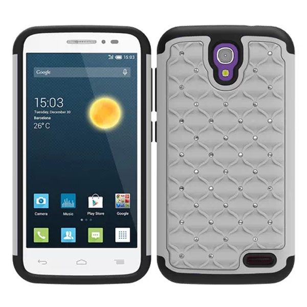 Bling Bling Crystal Design Hybrid Silicone and PC case for Alcatel One Touch Pop 2 (White)