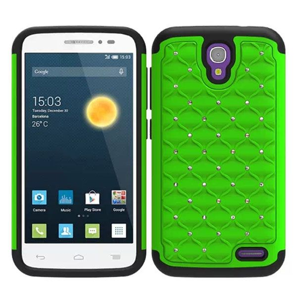 Bling Bling Crystal Design Hybrid Silicone and PC case for Alcatel One Touch Pop 2 (Green)