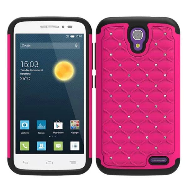 Bling Bling Crystal Design Hybrid Silicone and PC case for Alcatel One Touch Pop 2 (Pink)