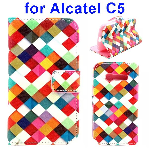 Colored Drawing Style Flip Wallet Leather Cover for Alcatel C5 with Holder (Colorful Pattern)