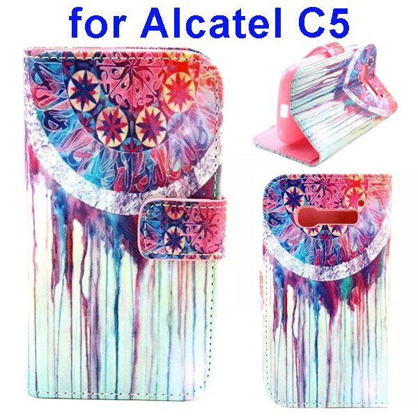 Colored Drawing Style Flip Wallet Leather Cover for Alcatel C5 with Holder (Flower Pattern)