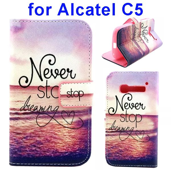 Colored Drawing Style Flip Wallet Leather Cover for Alcatel C5 with Holder (Sea Pattern)