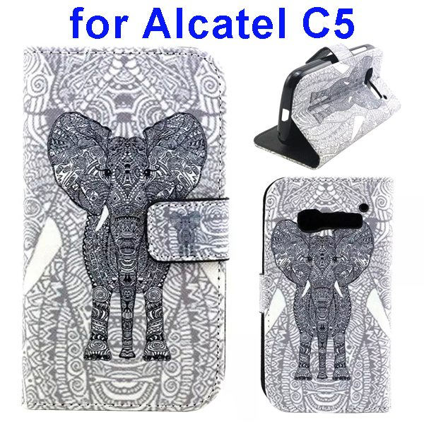 Colored Drawing Style Flip Wallet Leather Cover for Alcatel C5 with Holder (Elephant Pattern)