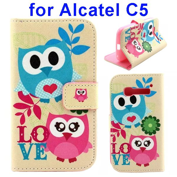 Colored Drawing Style Flip Wallet Leather Cover for Alcatel C5 with Holder (Two Owls Pattern)