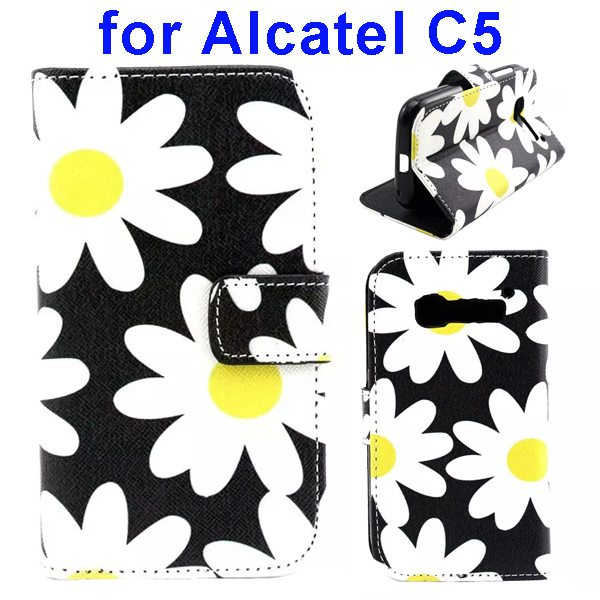 Colored Drawing Style Flip Wallet Leather Cover for Alcatel C5 with Holder (Chrysanthemum Pattern)
