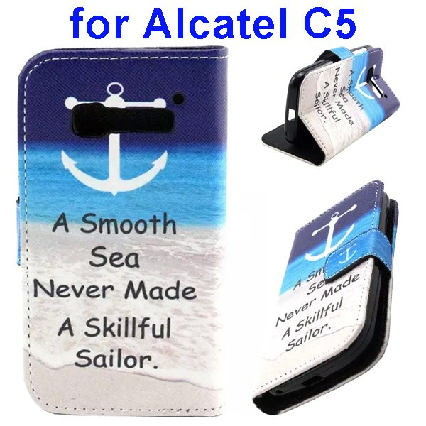 Colored Drawing Style Flip Wallet Leather Cover for Alcatel C5 with Holder (Blue Sea Pattern)