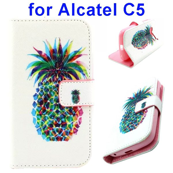 Colored Drawing Style Flip Wallet Leather Cover for Alcatel C5 with Holder (Pineapple Pattern)