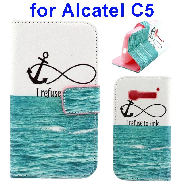 Colored Drawing Style Flip Wallet Leather Cover for Alcatel C5 with Holder (Anchor Pattern)