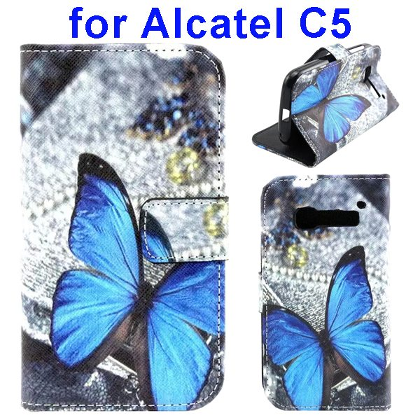 Colored Drawing Style Flip Wallet Leather Cover for Alcatel C5 with Holder (Butterfly Pattern)