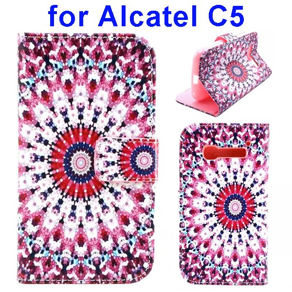 Colored Drawing Style Flip Wallet Leather Cover for Alcatel C5 with Holder (Pink Flower Pattern)