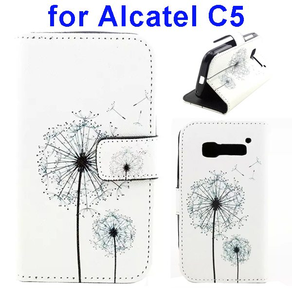Colored Drawing Style Flip Wallet Leather Cover for Alcatel C5 with Holder (Dandelion Pattern)