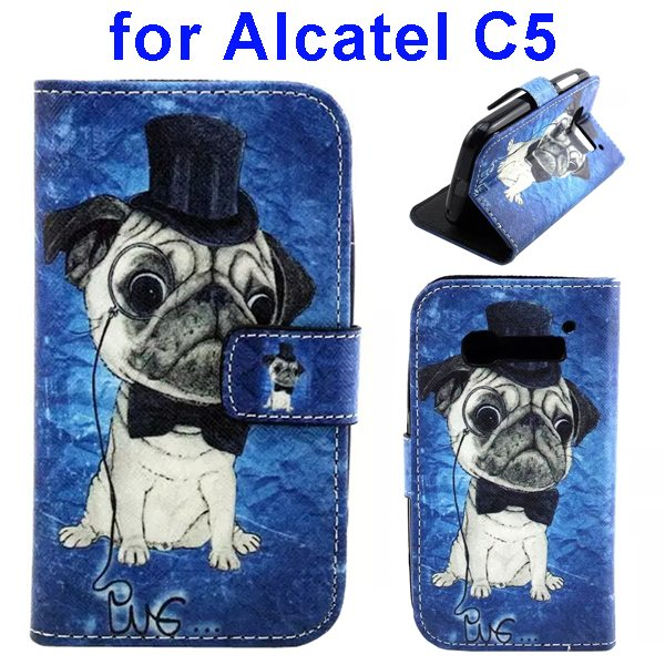 Colored Drawing Style Flip Wallet Leather Cover for Alcatel C5 with Holder (Dog Pattern)