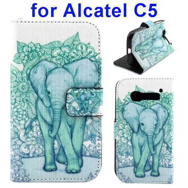 Colored Drawing Style Flip Wallet Leather Cover for Alcatel C5 with Holder (Big Elephant Pattern)