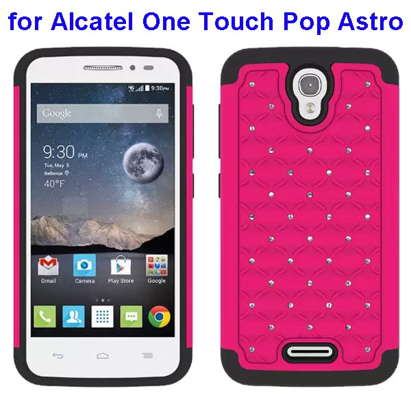 Bling Bling Diamond Studded Silicone and PC Shockproof Hybrid Case for Alcatel One Touch Pop Astro (Rose)
