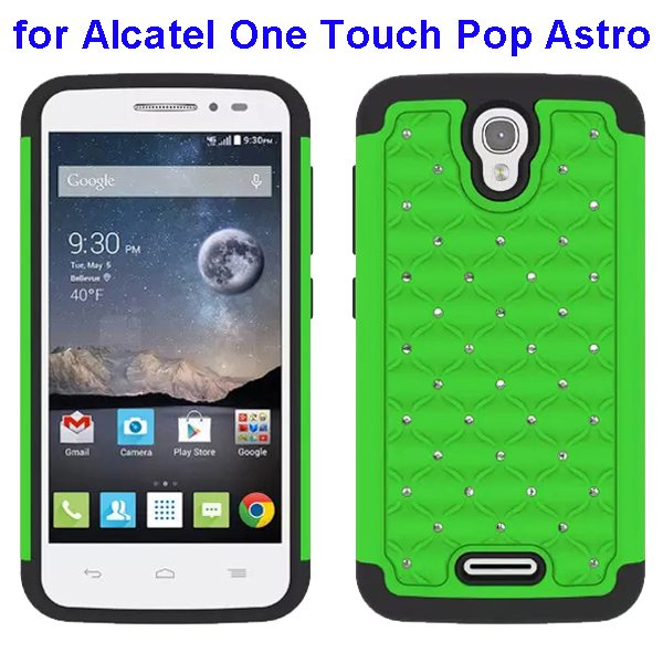 Bling Bling Diamond Studded Silicone and PC Shockproof Hybrid Case for Alcatel One Touch Pop Astro (Green)